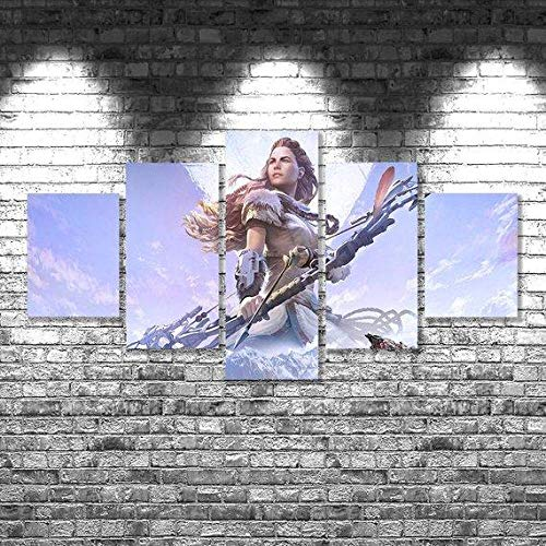 Canvas Prints Canvas Pictures XXL 5 Pieces Horizon Zero Dawn 4 – Gaming HD Printed 5 Pieces Canvas Wall Art Painting Modular Wallpaper Poster Print Modern Living Room Home Decor-100*55cm-Marco