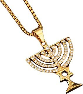 David Star Menorah Necklace Hexagram Israel Jewelry Accessory for Men Women