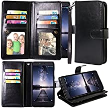 Harryshell ZTE Zmax Pro Case, ZTE Carry Case, 12 Card Slot PU Leather Wallet Flip Case Cover with Wrist Strap for ZTE Blade X Max Z983 /Grand X Max 2/Max Duo/Imperial Max Z963U/Kirk Z988 (Black)
