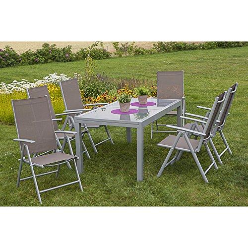 MERXX Salerno - Juego de muebles de jardín (7 piezas, silla plegable y mesa extensible, 160 x 90 cm), color gris