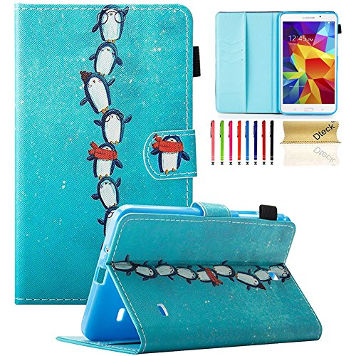 Galaxy Tab 4 7.0 Inch Case,SM-T230nu Tablet Case,Dteck Samsung Galaxy Tab 4 7.0' Kids Cover Slim PU Leather Folio Wallet Case Built-in Stand & Auto Sleep/Wake for SM-T230 T231 T235, Penguin Queue