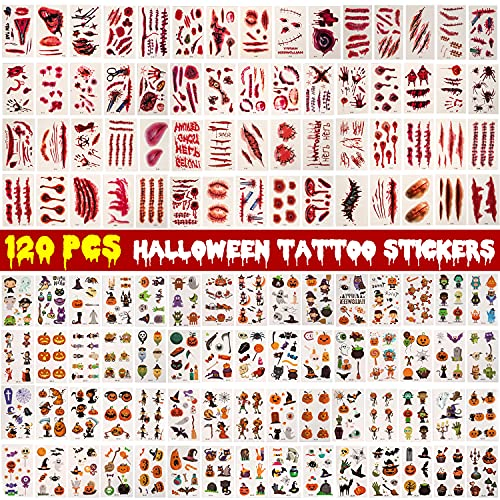 Tatuajes Temporales Halloween, Fyvadio 720 Piezas Halloween Tattoos, Zombi Cicatrices Tatuaje, Halloween Tatuajes Temporales...