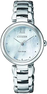 CITIZEN Womens Solar Powered Watch, Analog Display and Solid Stainless Steel Strap EM0530-81D