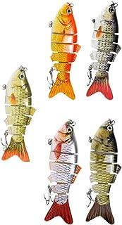 CLISPEED 5 Pcs Iscas de Pesca Do Robalo Com Gancho 3D Forma de Peixe Realista Multi Articulado Swimbaits Equipamento de Pe...