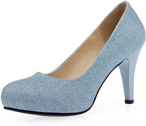 XTQCBQL Chaussures d'été Nouveau Solide Chaussures Femme Talons Aiguilles Aiguilles Chaussures Plate-Forme Robe de mariée Femmes Pompes  jusqu'à 50% de réduction