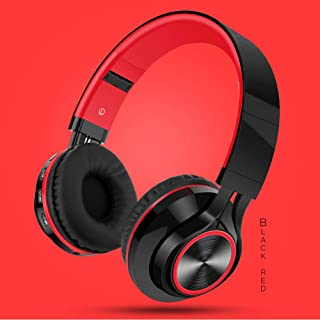 BUNGER Wireless Bluetooth Foldable Headphones Hi-Fi Stereo Headset With Mic SD/TF Card RED