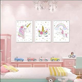 NADARDA Canvas Unicorn Wall Posters, Rainbow Unicorn Wall Art Prints Painting Decoration Pictures Set of 3 Girls Kids Bedroom Nursery Wall Decor, (UNFRAMED)