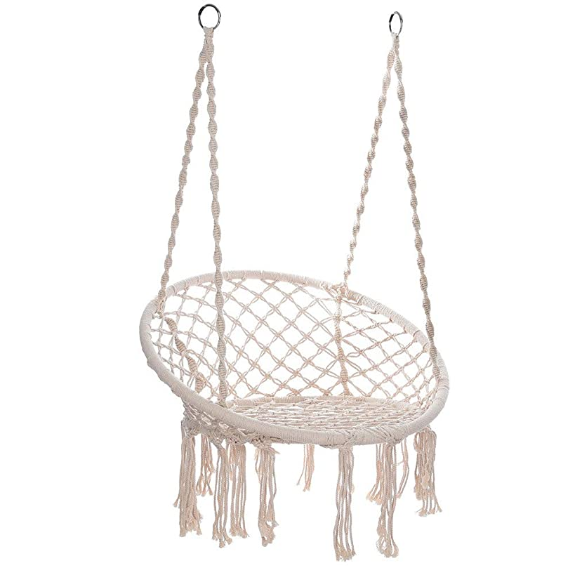 Islandse????Hammock Chair Macrame Swing Handmade Swing Chair Prefect for Indoor/Outdoor White