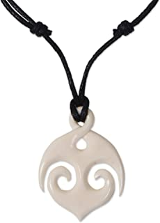 NOVICA Bone Pendant Necklace `Midnight Anchor`
