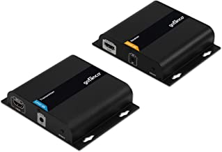 gofanco 4K HDMI Extender Over IP Kit Up to 395 ft (120m) [1 to 1, 1 to Many Over CAT6] with IR Extension, 4K @30Hz, HDCP 2.2, HDMI to Ethernet Adapter Balun (Transmitter & Receiver Kit - HDBitT4K22)
