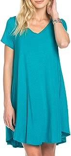 Mitto Shop Bamboo Fiber Knit Short Sleeve V-Neck T-Shirt Dress