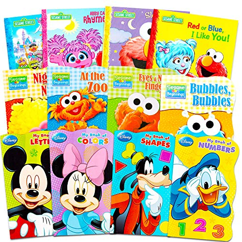 Sesame Street + Mickey Mouse Baby Toddler Beginnings Board Books & Story Books (12 Book Set)