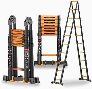 LJGMTZ Aluminum Telescopic Ladder, Portable Folding Non-Slip Retractable Extension Ladder in A Shape, Suitable for The Construction of Attic Ladders (Size: 1.9M + 1.9M = 3.8m (12ft))