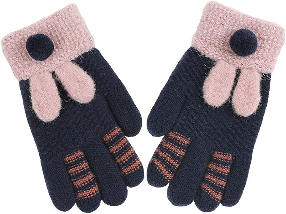 CHUANGLI Cute Rabbit Ears Kids Warm Winter Full Finger Gloves Thick Fleece Lined Outdoor Windproof Gloves