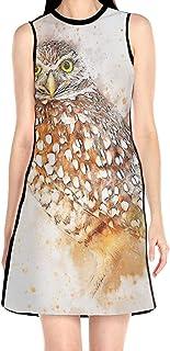 ブラックローズ 鳥 動物 ふくろう美術 花柄ワンピース ワンピース レディース カジュアル 夏物 夏服 スカート おしゃれ 洋服 ファッション 流行る
