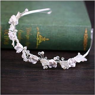 FELICILII Corona Fascia Molle Foglia Ceramic White Mano Headwear Bridal Veil Accessori da Sposa