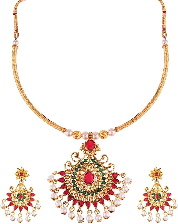 Efulgenz Crystal Pendant Choker Necklace Earrings Bollywood Indian Jewelry Set for Women Girls