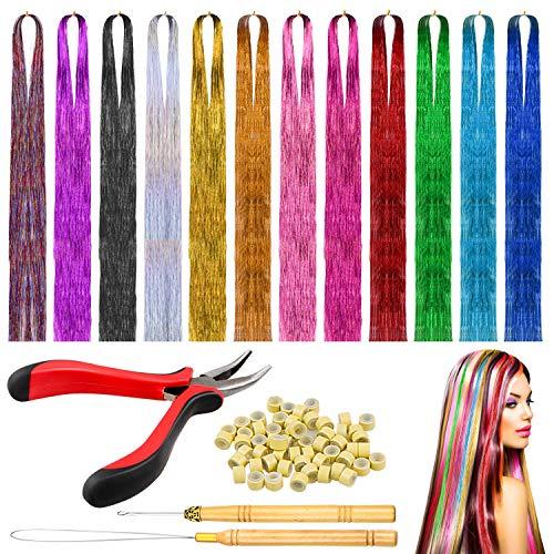 Homgaty Farbiger Haarverlängerungs,1200 Strähnen 12 Farben Haar Lametta Extensions Glitzernde Haarverlängerung mit Zange,Zughaken,Ziehen Nadel,200 Mikrosilikon Gliederringe Perlen,für Mädchen Frauen