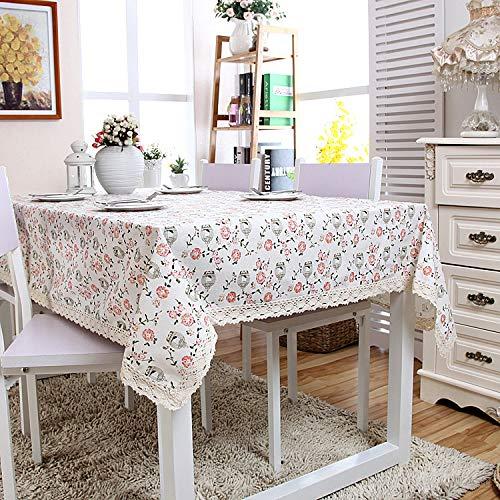 nobranded Ländliche Art Leinen Bedruckte Tischdecke Blumen und Vogelkäfig Muster Drucktischdecke für Küche Esszimmer Tischdekoration Outdoor Picknick