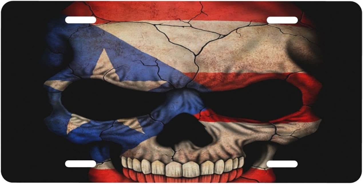 NCHOME License Plate Puerto OFFicial shop discount Flag Front Skull Rican