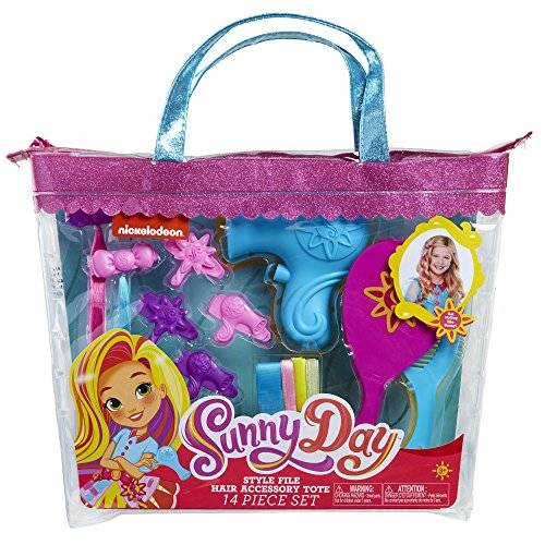 Sunny Day 8215 Sunny Da Hair Style File Accessory Tote Set (14 Piece), Pink/Blue