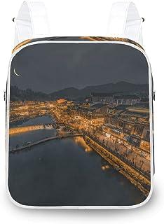 LUPINZ Antigua ciudad vista nocturna, mochila de hombro duradera