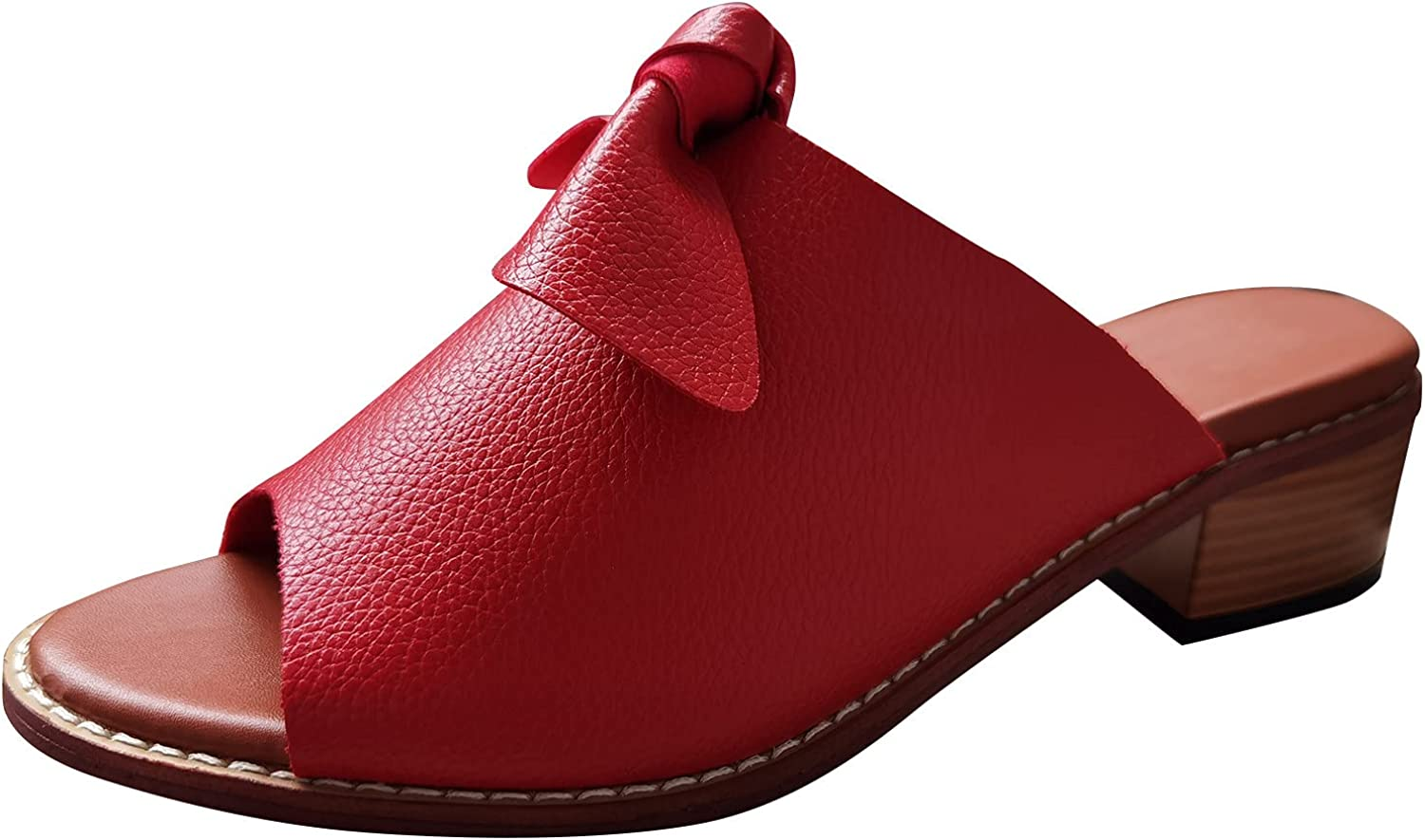 Women's Fashion Squared Heel Peep Toe Sandals Casual Kontbow Slip On Shoes