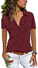 S-8xl Vrouwen Blouses Basic Stijl Knop Effen Zomer Korte Mouw Shirt Dames Slanke Kleding Elegante Kantoor Shirts Tops