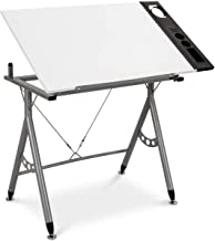 Tangkula Adjustable Drafting Table Art & Craft Drawing Desk Folding with Side Tray White