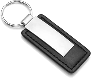 Jovivi Custom Leather Keychain - Personalized Handmade Genuine Leather Keychain Fob Black Leather Key Chain Holder for Mens Gifts