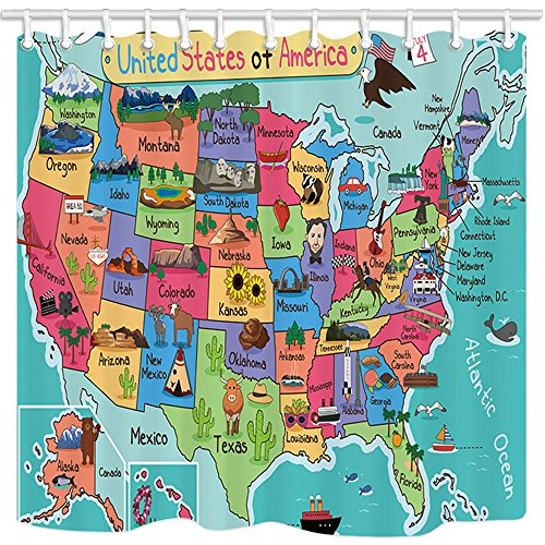 NYMB Kids Map of The United States Bath Curtain, Cartoon Fun Facts Geography USA Map, Polyester Fabric Waterproof Shower Curtain for Bathroom, Shower Curtains Hooks Included, Turquoise Red (69X70in)