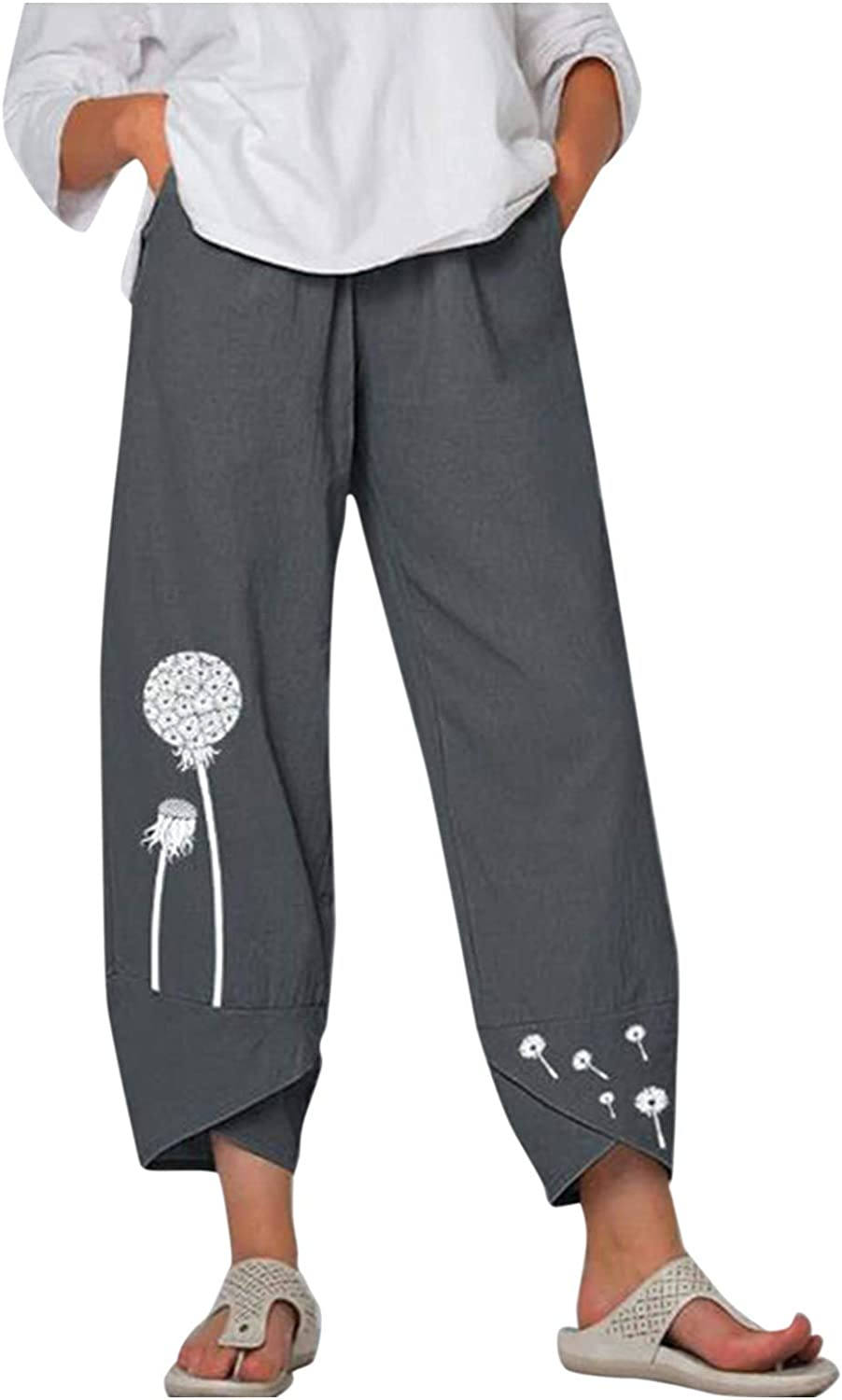 Johtae Linen Pants for Women Sweatpants Cropped Free shipping Tulsa Mall anywhere in the nation Loose Harem Wide