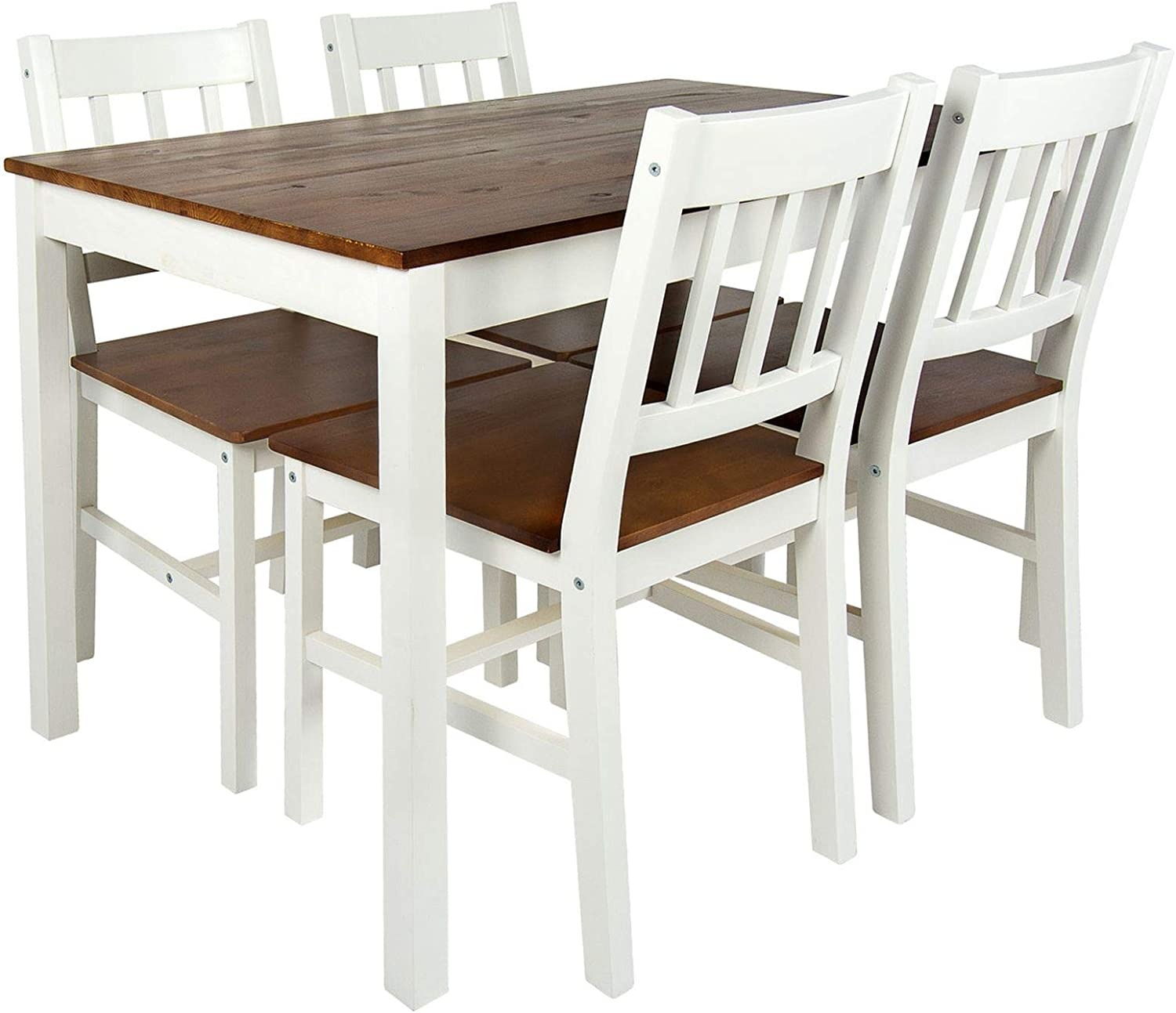 Merkell Leomark Beautiful Dining Set   White Walnut   Table and 9 Chairs,  Pine Dining Table, Natural Wood Dining Room Set for Kitchen, Complete  Wooden ...
