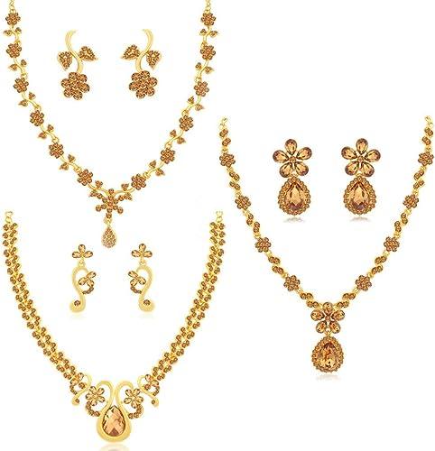 Jewellery Diamond Jewellery Set For Women Brown CBN82184