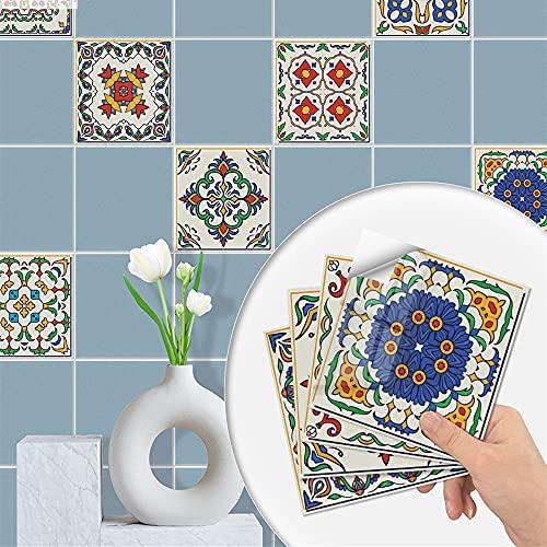 20 pegatinas de azulejos impermeables para azulejos de pared, pegatinas autoadhesivas decorativas, para cocina, baño, chimenea, azulejos de pared (serie colorida, 15 x 15 cm)