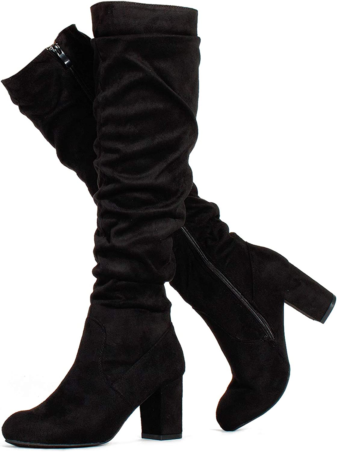 RF ROOM OF FASHION Women's Fitted Calf Chunky Heel Slouchy Knee High Dress Boots