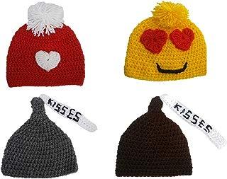 Gorro San Valentin para sesión de fotos, newborn crochet emoji, kisses, love, heart
