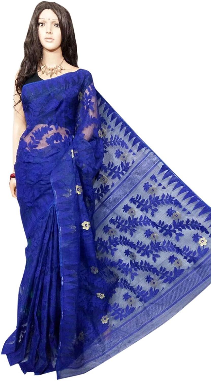 Ethnic bluee Handloom Dhakai Jamdani Sari weaving work Bengal Women sari Indian Festive saree 105 3
