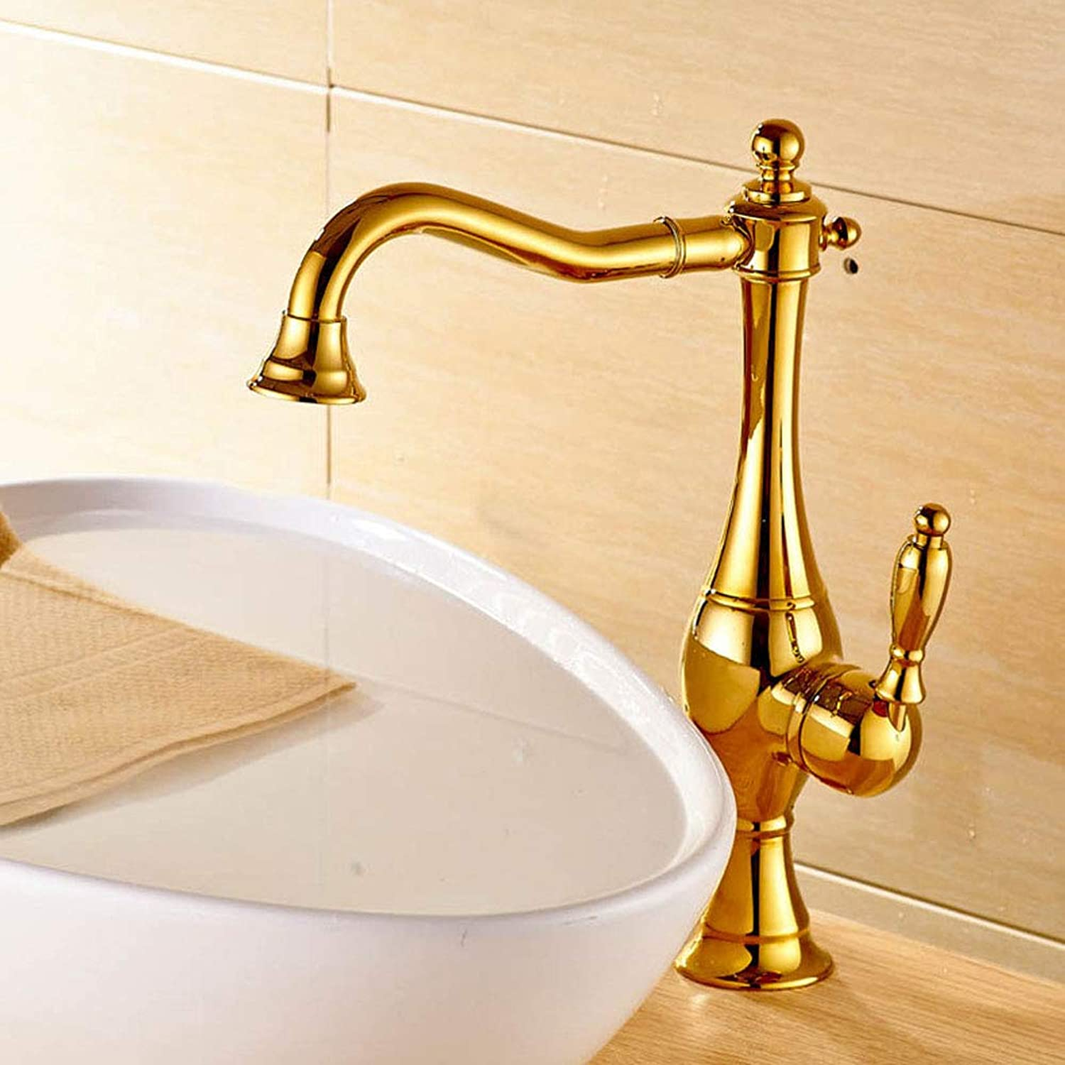 360°Swivel European Style Retro Style Kitchen Mixer Tap all Brass Plating Hot Cold Kitchen Sink Faucet,goldenFaucet