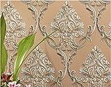 Papier Peint Brun Relief Damassé 3D Moderne Minimaliste Non-tissé Papier Peints pour Chambre Salon Canapé TV Fond Mur Décoration de La Maison /20.8 In 32.8 Ft=57 Sq.ft/Brun