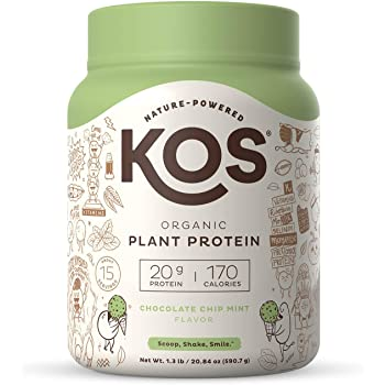 KOS Organic Plant Based Protein Powder, Chocolate Chip Mint - Delicious Vegan Protein Powder - Gluten Free, Dairy Free & Soy Free - 1.3 Pounds, 15 Servings