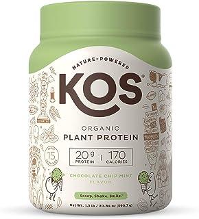 KOS Organic Plant Based Protein Powder, Chocolate Chip Mint - Delicious Vegan Protein Powder - Gluten Free, Dairy Free & S...