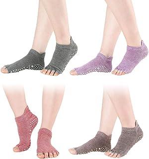 Garneck 4 Pair Yoga Socks Non Slip Pilates Barre with Grips for Women Hot Yoga Pilates Barre Ballet Dance