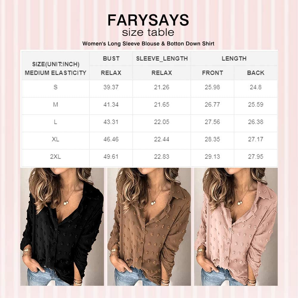 FARYSAYS Women's Chiffon Blouse Shirts Pom Pom Swiss Dot Long Sleeve Button Down Lapel Blouses Tops