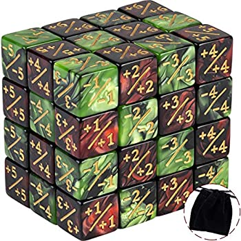 48 Pieces Token Dice Counters Creature Stats or Loyalty Dice Marble Cube D6 Dice for Magic The Gathering CCG MTG Card Gaming Accessories  Ruby&Black Emerald&Black