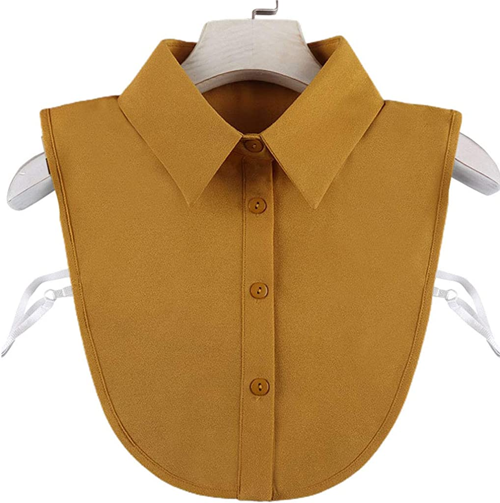 YOUSIKE Detachable Blouse, Women Spring Winter Solid Color Detachable Fake Collar Buttons Adjustable Decorative Half-Shirt Blouse for Sweater Sweatshirt Neckwear