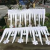 XdiseD9Xsmao 2 Piezas Delicado Y Liviano Copo De Nieve Blanco Tira De Hielo Adorno Fiesta De Navidad DIY Decoración De Ventana Accesorio De Fiesta De Navidad Blanco