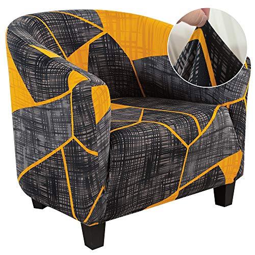 papasgix Chesterfield - Funda elástica para sillón de cóctel, extraíble, lavable, antideslizante, estampado de 1 plaza para tullsta, banco, salón, gris/amarillo