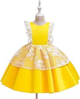 Luxury Glossy Princess Dress Girls Princess Tutu Dress Child Catwalk Girls Lotus Leaf Butterfly Costumes Christmas Day ryq (Color : Yellow, Size : 110cm)