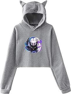 Female Cute Cat Ear Hoodie Sweatshirts Toothless's Love Graphic Crop Top Hoodie
